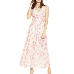 NEW LEITH Ruched Chiffon Maxi Dress Cream Floral